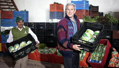 Dubya crates lettuce; it's hard work!