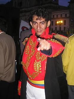 A Simon Bolivar impersonator in Colombia has a stern warning for BushCo!