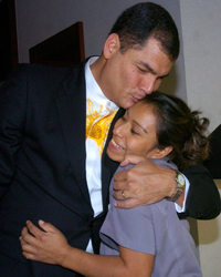 Rafael Correa and one lucky lady