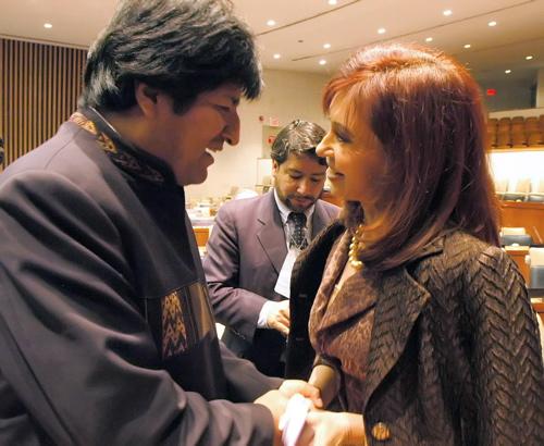 Evo and Cristina Kirchner at the UN