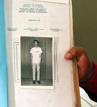 Dossier of the young army recruit, Hugo Chavez