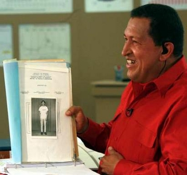 Hugo Chavez, holding his army dossier