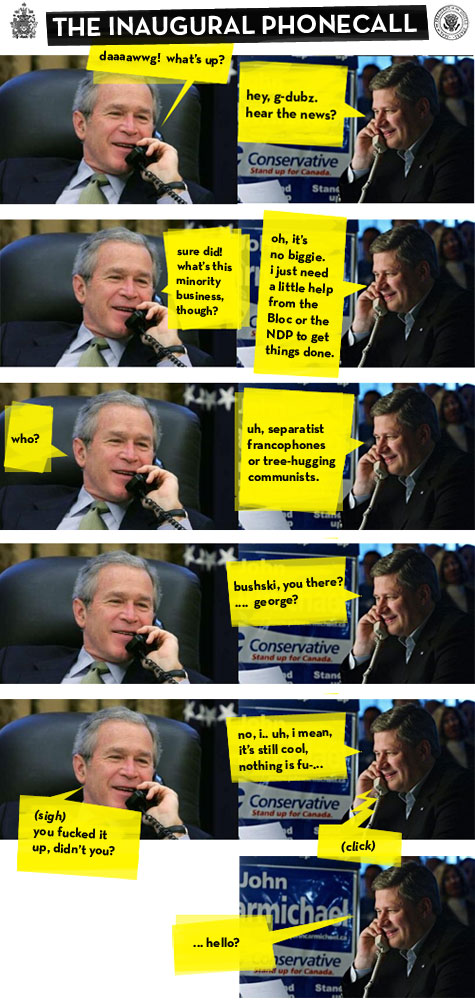 George W. Bush congratulating Stephen Harper on his minority government