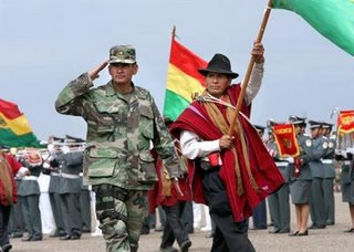 Red Poncho and Bolivian military side by side