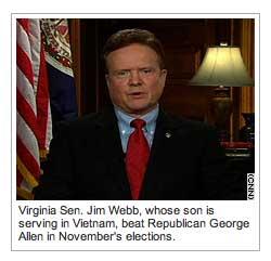 Jim Webb's son is WHERE?